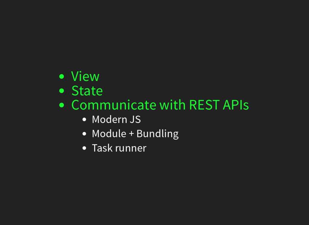Modern JS Module + Bundling Task runner View St...