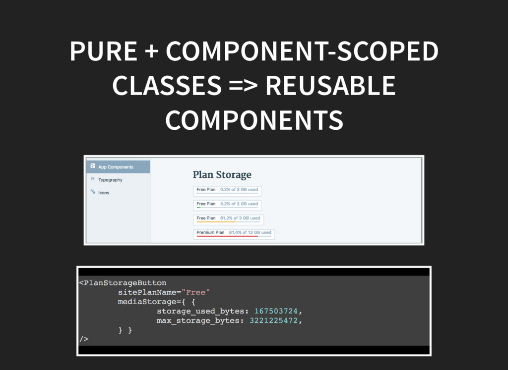 PURE + COMPONENT-SCOPED CLASSES => REUSABLE COM...