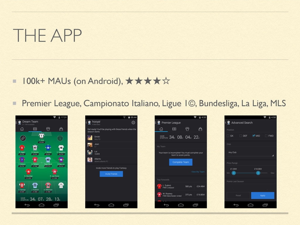 THE APP 100k+ MAUs (on Android), ★★★★☆ Premier ...
