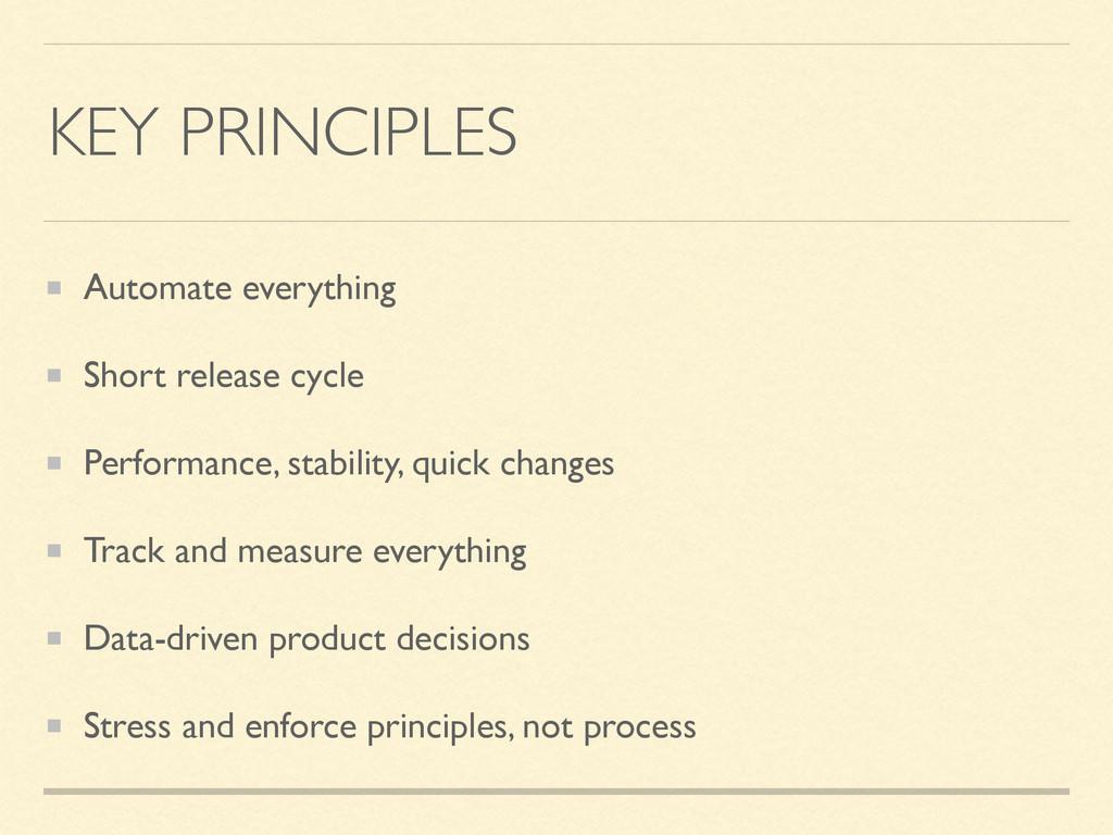 KEY PRINCIPLES Automate everything Short releas...