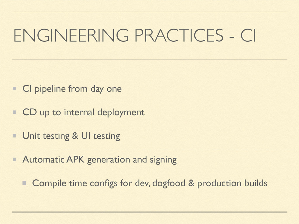 ENGINEERING PRACTICES - CI CI pipeline from day...