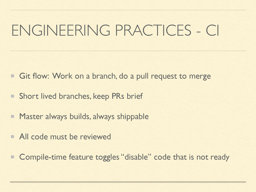 ENGINEERING PRACTICES - CI Git flow: Work on a b...