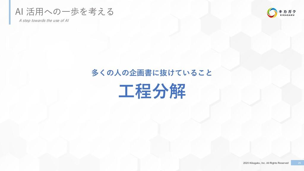 2020 Kikagaku, Inc. All Rights Reserved AI 活⽤への...