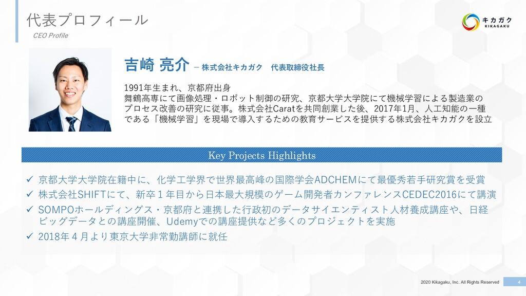 2020 Kikagaku, Inc. All Rights Reserved 4 代表プロフ...