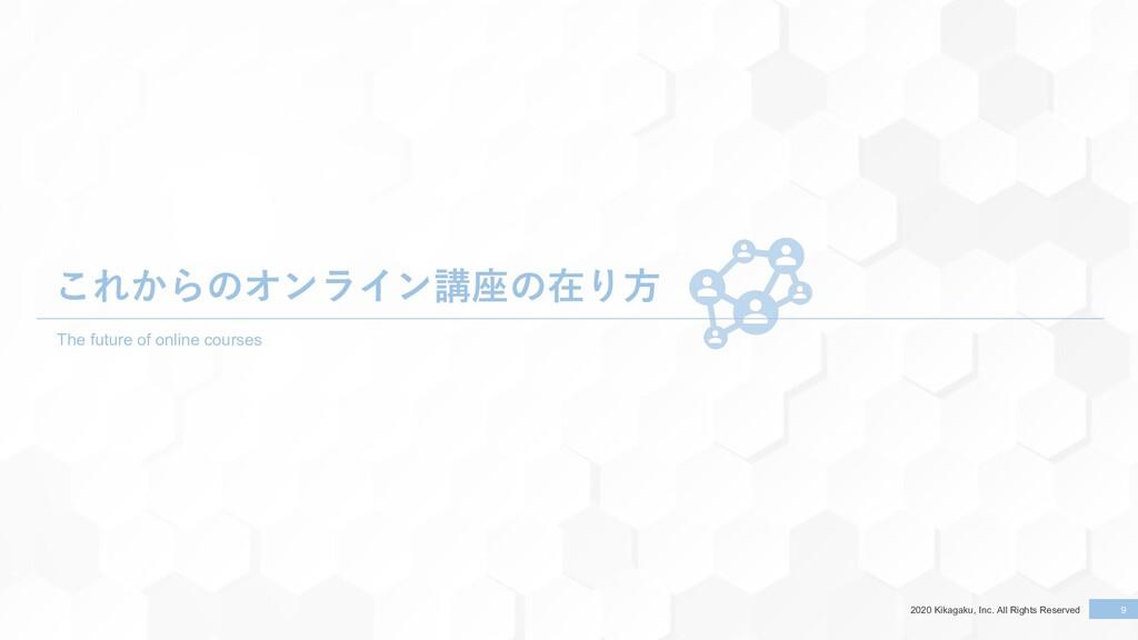 2020 Kikagaku, Inc. All Rights Reserved 9 9 これか...