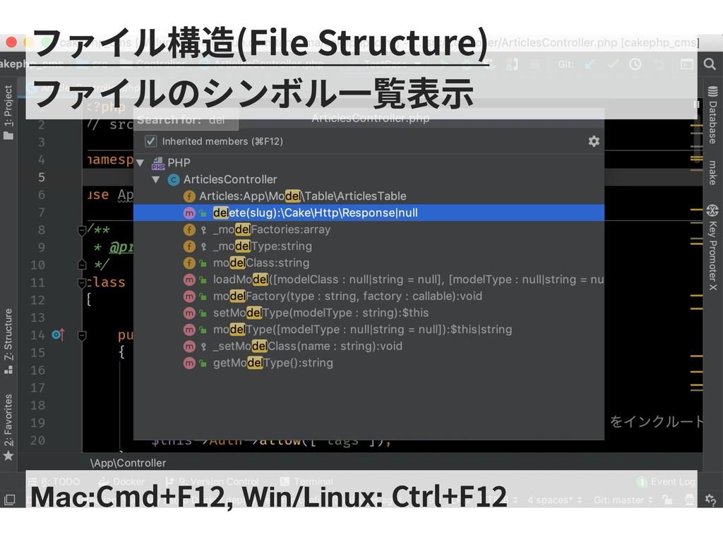 Mac:Cmd+F , Win/Linux: Ctrl+F ファイル構造(File Struc...