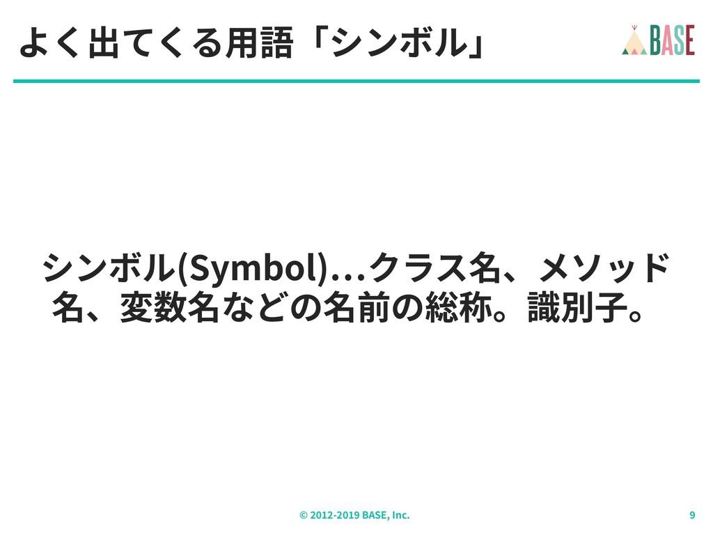 © - BASE, Inc. シンボル(Symbol) クラス名、メソッド 名、変数名などの名...