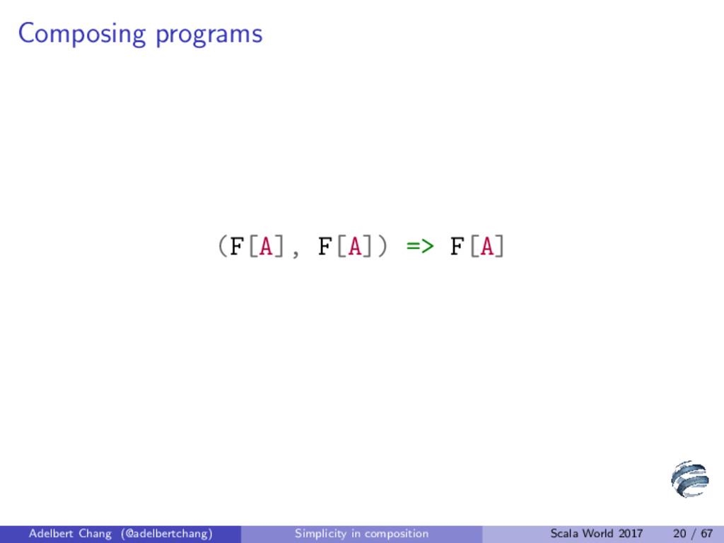 Composing programs (F[A], F[A]) => F[A] Adelber...