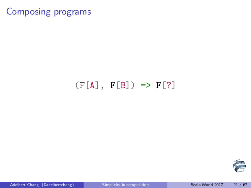 Composing programs (F[A], F[B]) => F[?] Adelber...