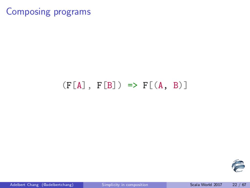 Composing programs (F[A], F[B]) => F[(A, B)] Ad...