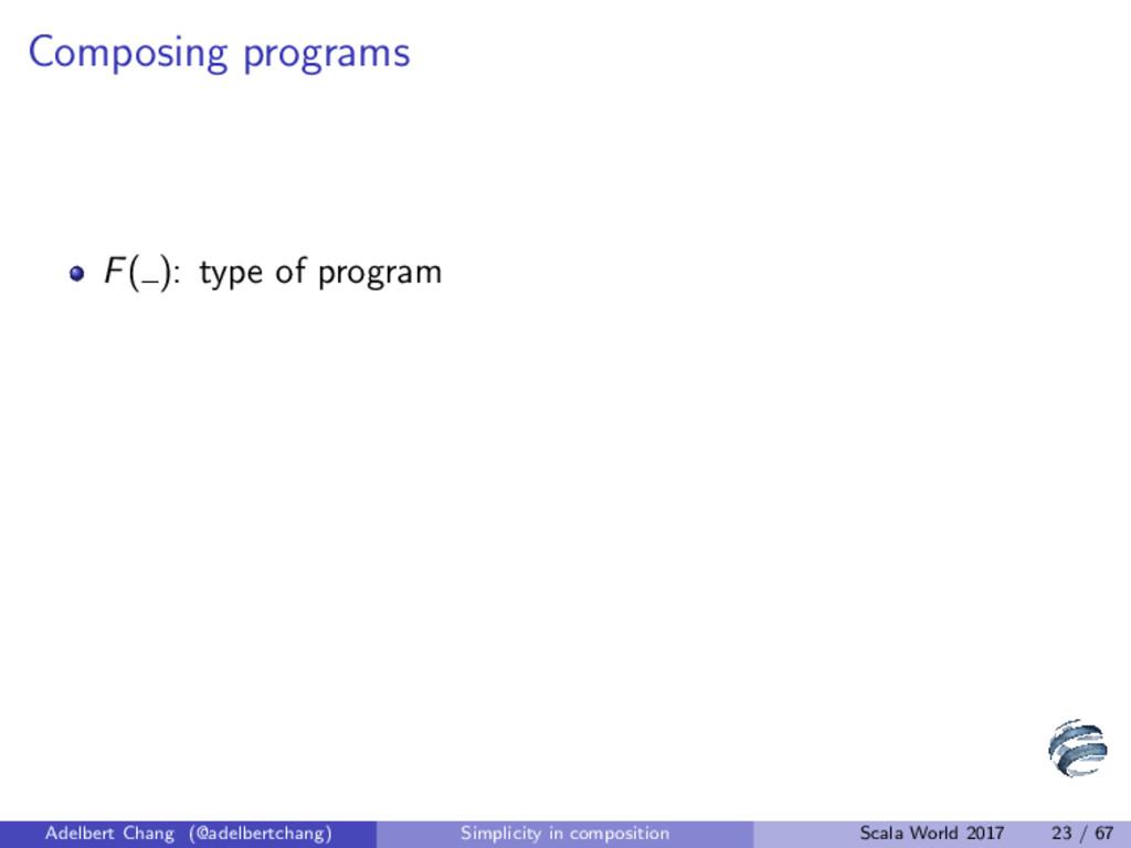 Composing programs F( ): type of program Adelbe...