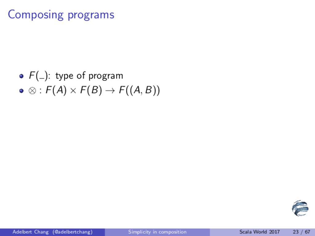 Composing programs F( ): type of program ⊗ : F(...