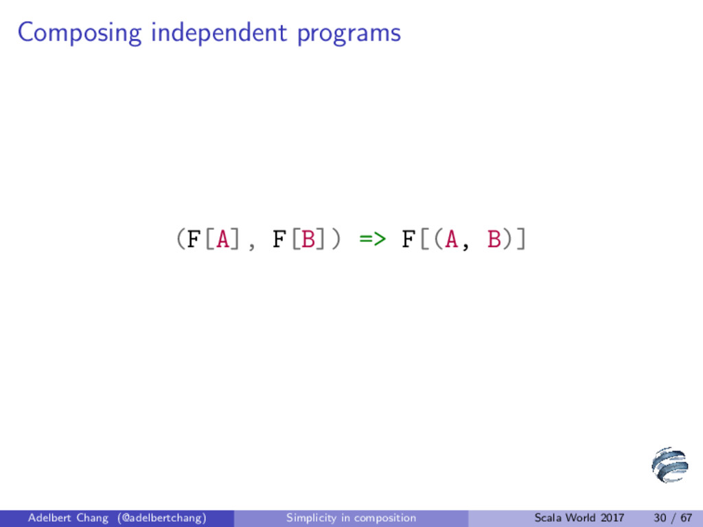 Composing independent programs (F[A], F[B]) => ...