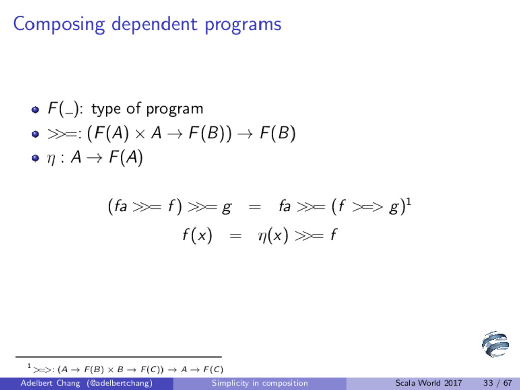 Composing dependent programs F( ): type of prog...