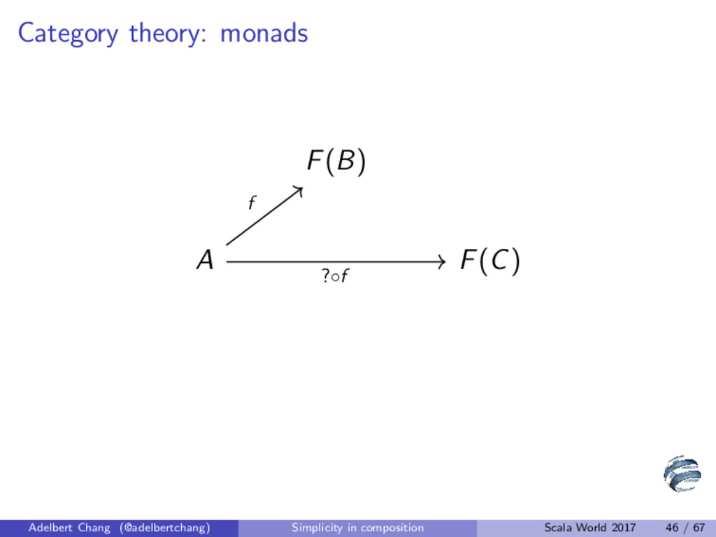 Category theory: monads F(B) A F(C) f ?◦f Adelb...