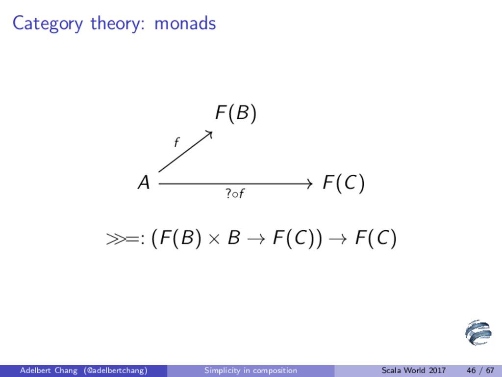 Category theory: monads F(B) A F(C) f ?◦f > >=:...