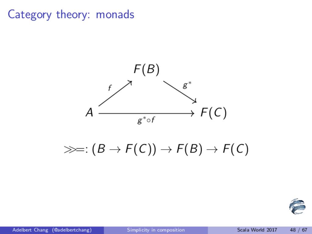 Category theory: monads F(B) A F(C) g∗ f g∗◦f >...