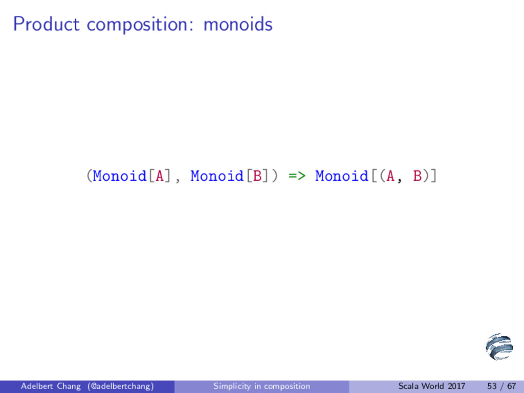 Product composition: monoids (Monoid[A], Monoid...