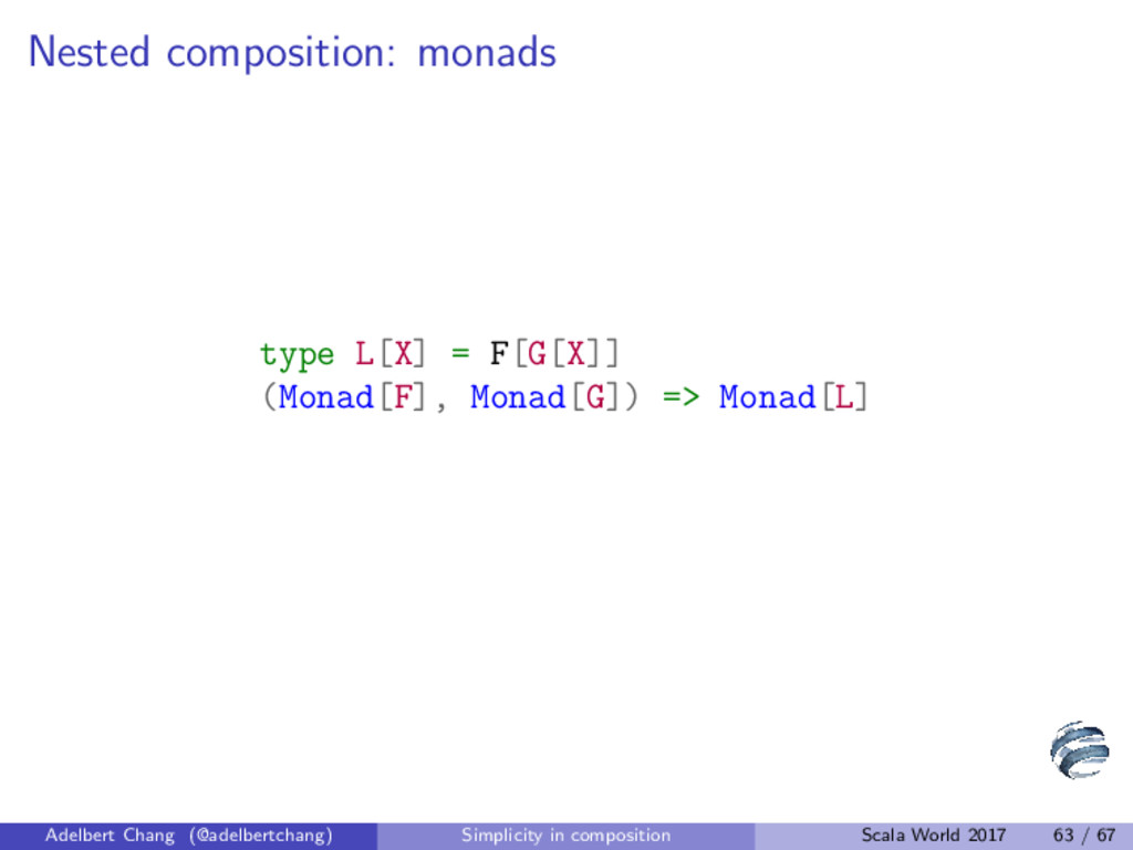 Nested composition: monads type L[X] = F[G[X]] ...