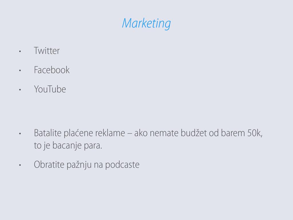 Marketing • Twitter • Facebook • YouTube  • B...