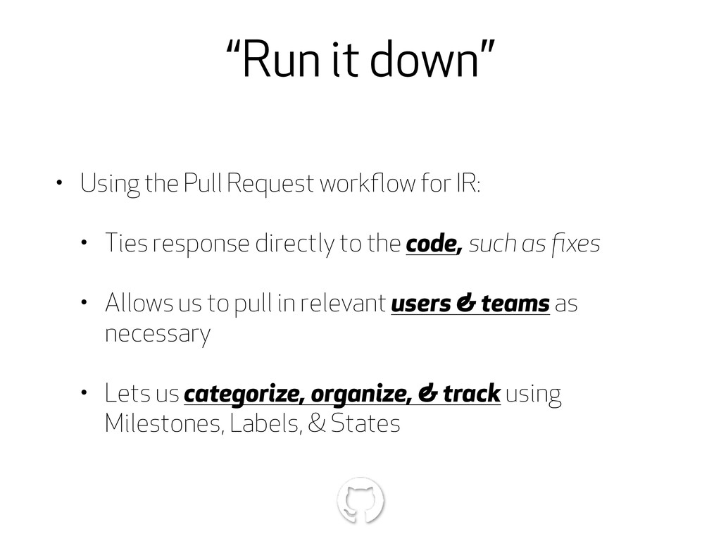 """Run it down"" • Using the Pull Request workflow ..."