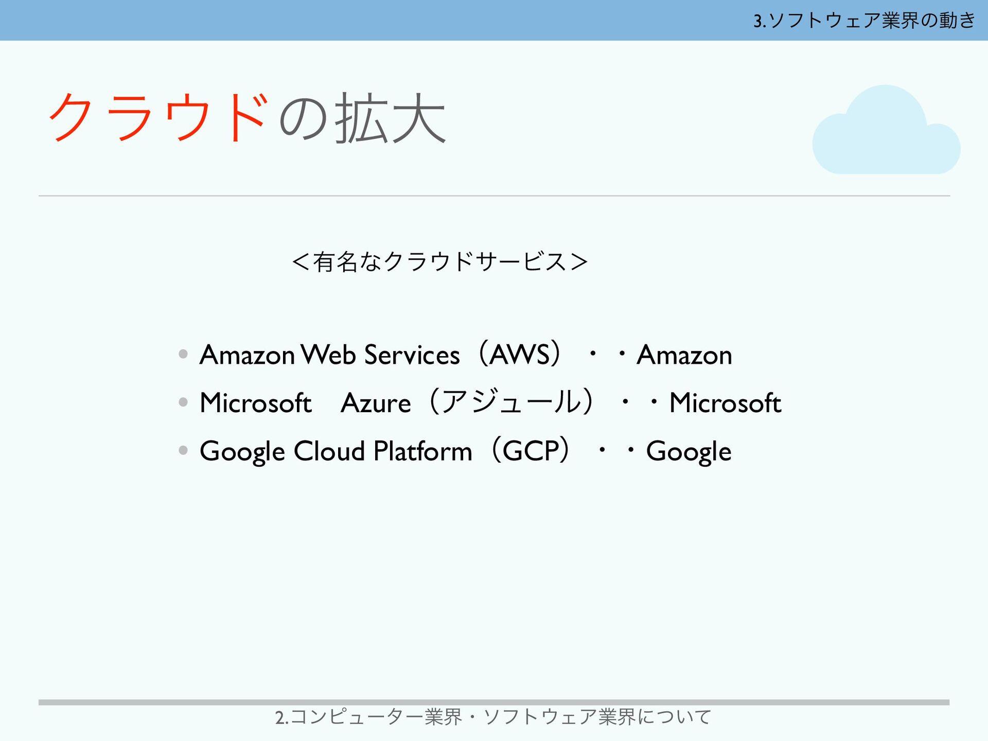 2.ίϯϐϡʔλʔۀքɾιϑτΣΞۀքʹ͍ͭͯ ʻ༗໊ͳΫϥυαʔϏε' • Amazon...