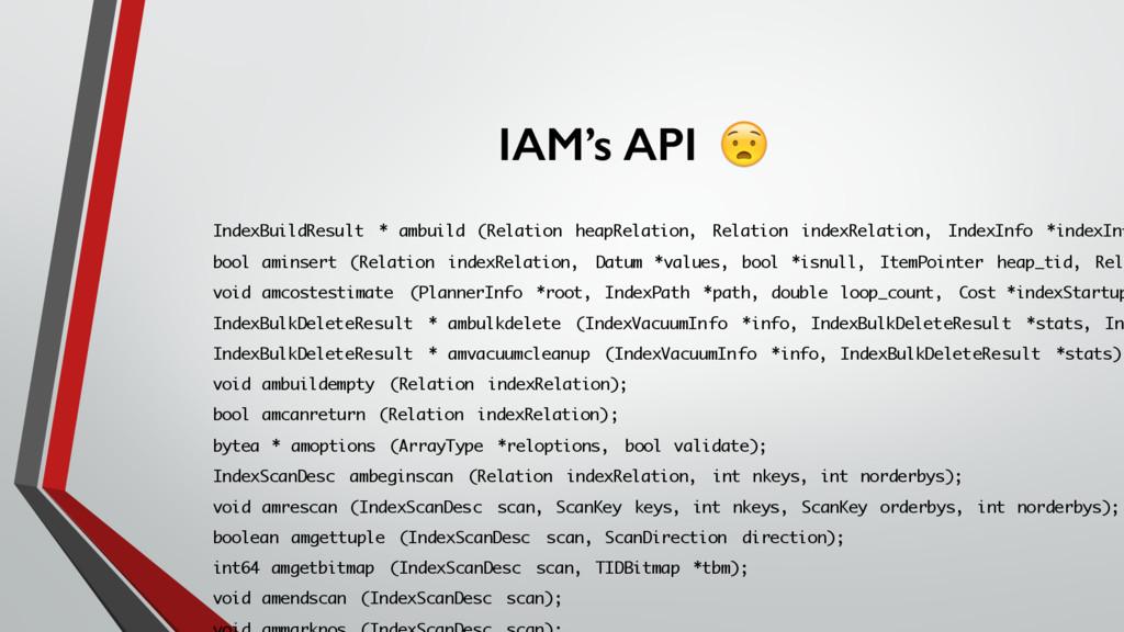 IAM's API IndexBuildResult * ambuild (Relation ...