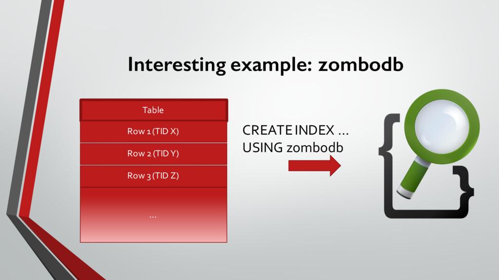 Interesting example: zombodb Table Row 1 (TID...