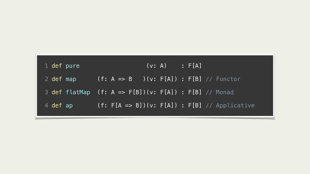! 1 def pure (v: A) : F[A] ! 2 def map (f: A =>...