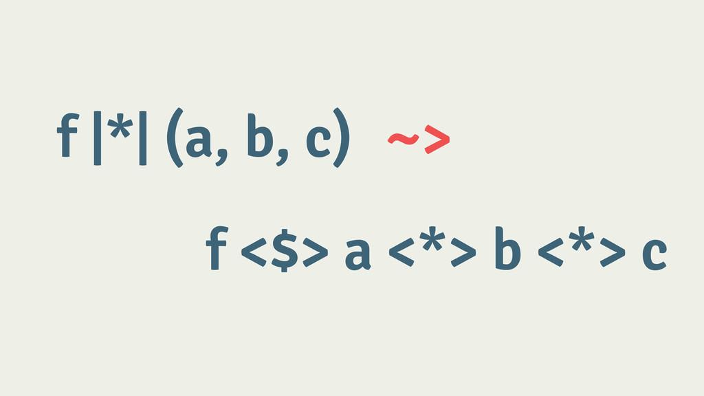 f |*| (a, b, c) ~> f <$> a <*> b <*> c