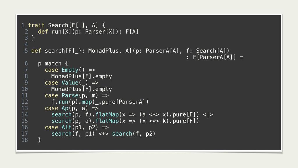 1 trait Search[F[_], A] { 2 def run[X](p: Parse...