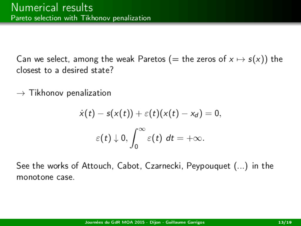 Numerical results Pareto selection with Tikhono...