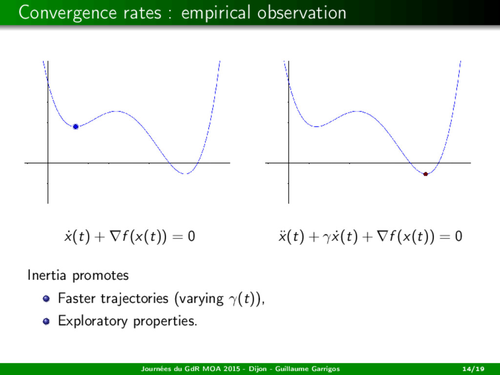 Convergence rates : empirical observation ˙ x(t...