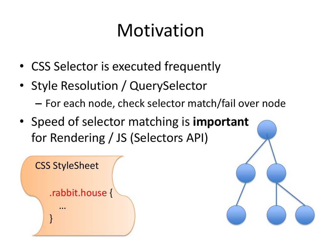 Motivation • CSS Selector is executed frequentl...