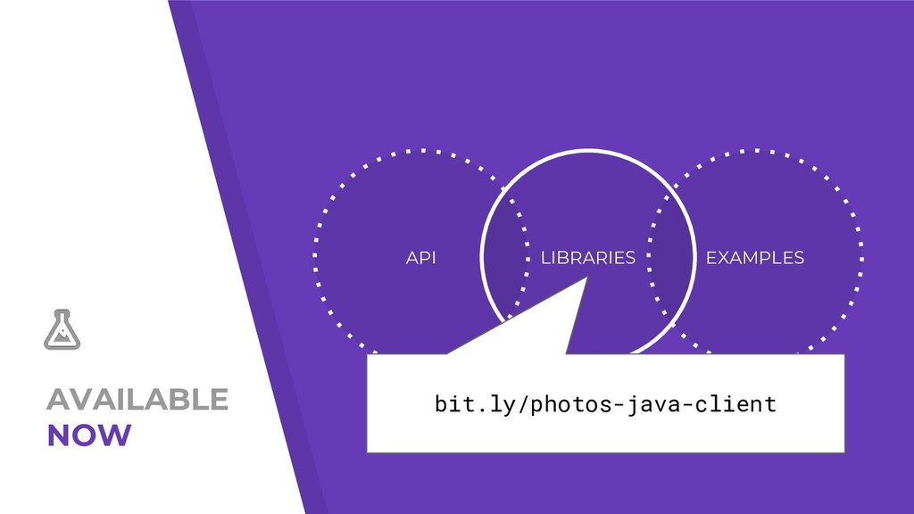 AVAILABLE NOW API EXAMPLES LIBRARIES bit.ly/pho...