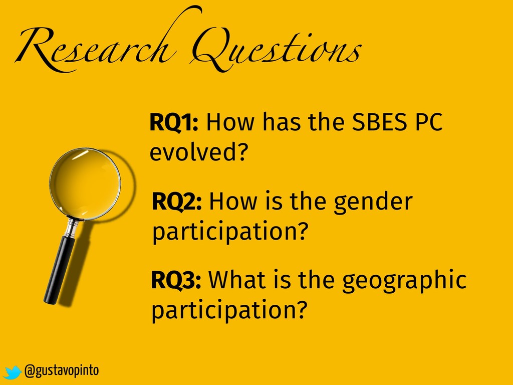 Research Questions RQ1: How has the SBES PC evo...