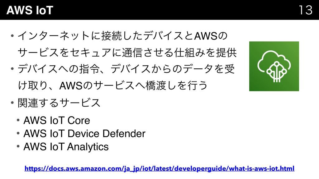 AWS IoT   • Πϯλʔωοτʹଓͨ͠σόΠεͱAWSͷ αʔϏεΛηΩϡΞʹ...