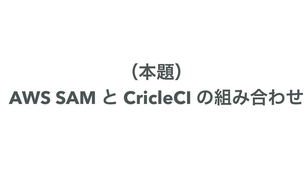 ʢຊʣ AWS SAM ͱ CricleCI ͷΈ߹Θͤ