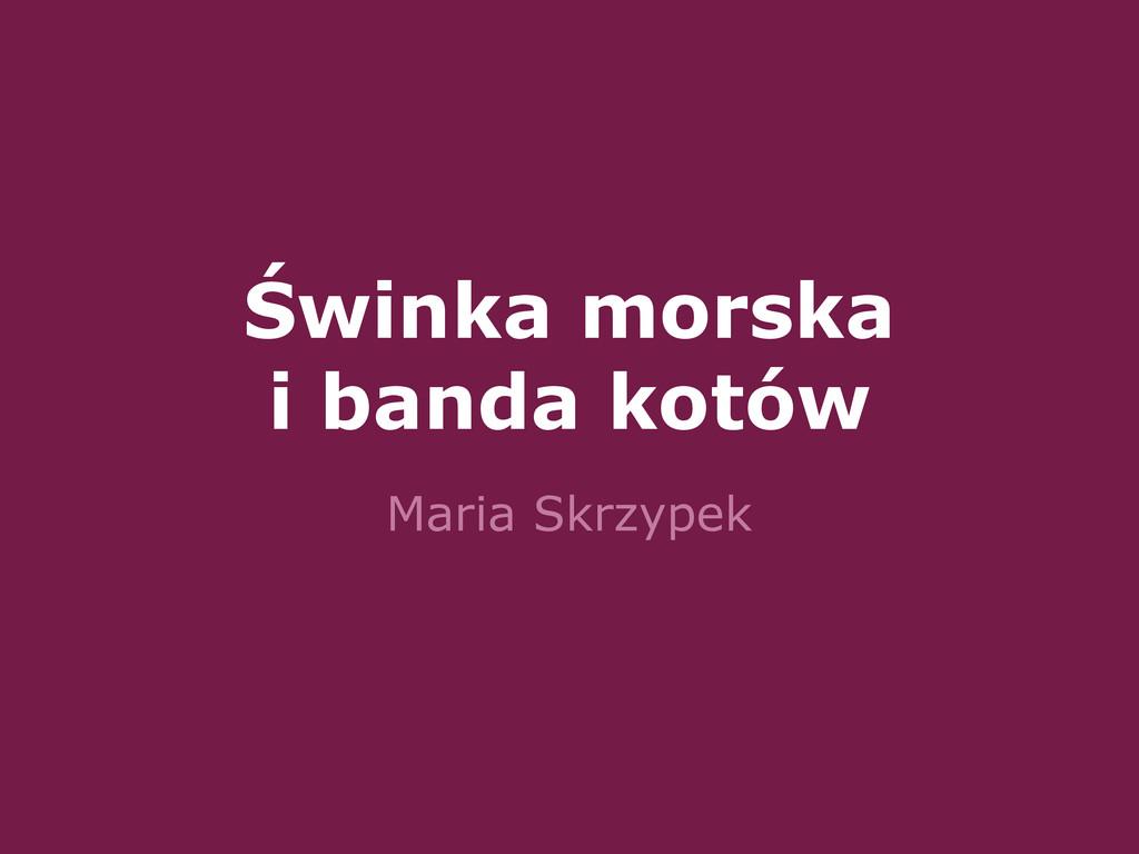 Świnka morska i banda kotów Maria Skrzypek