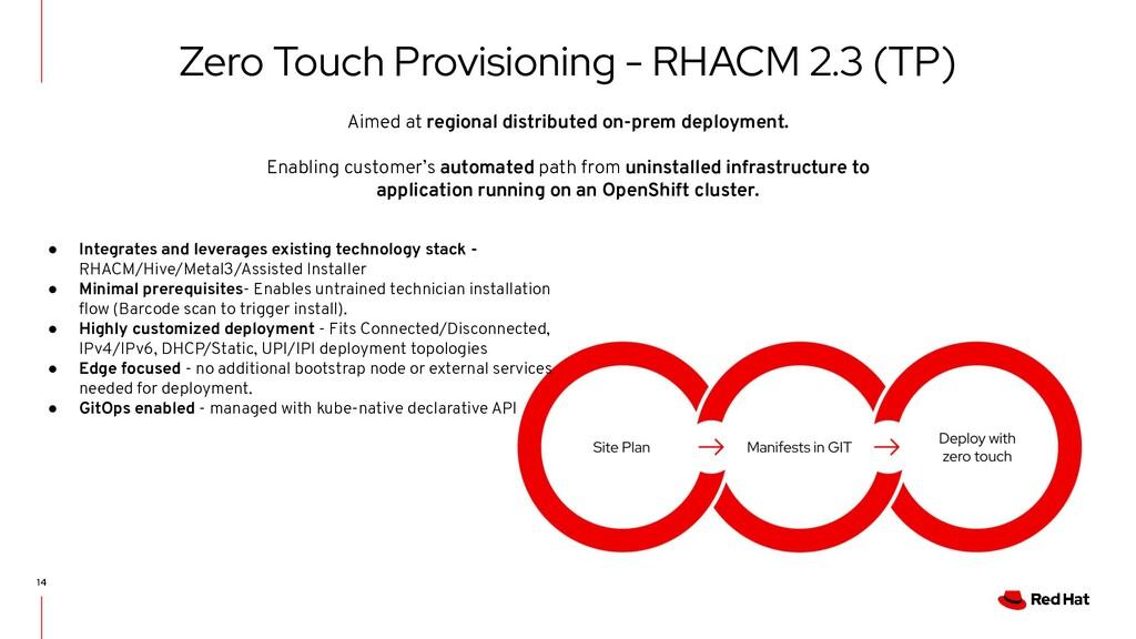 14 Zero Touch Provisioning - RHACM 2.3 (TP) ● I...
