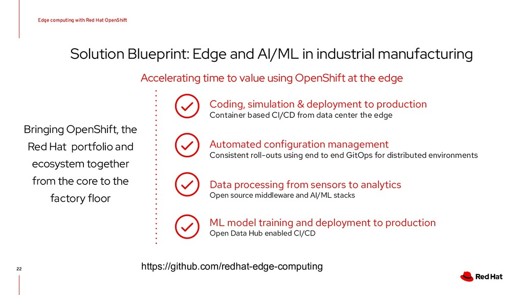 Edge computing with Red Hat OpenShift 22 Soluti...