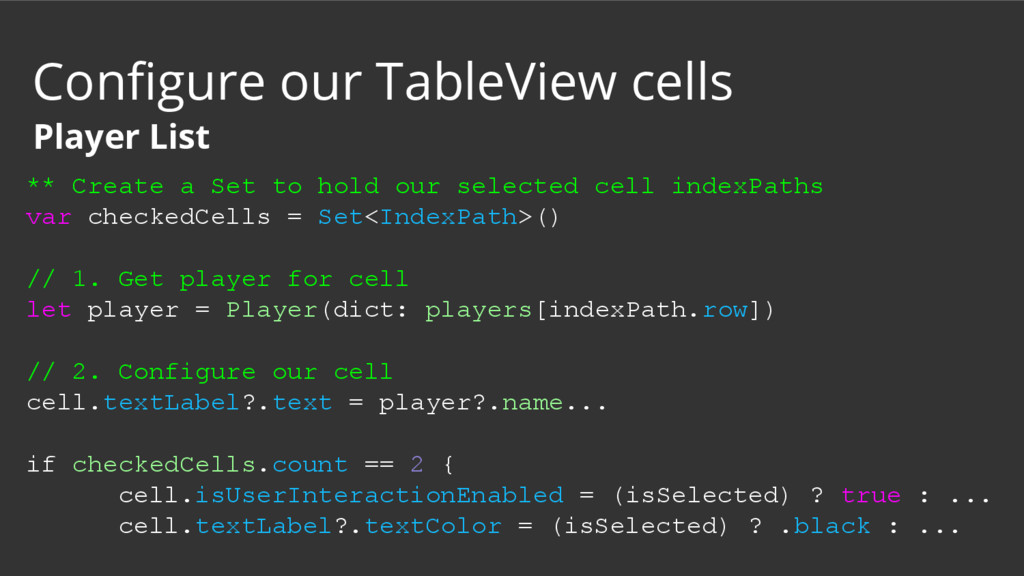 ** Create a Set to hold our selected cell index...