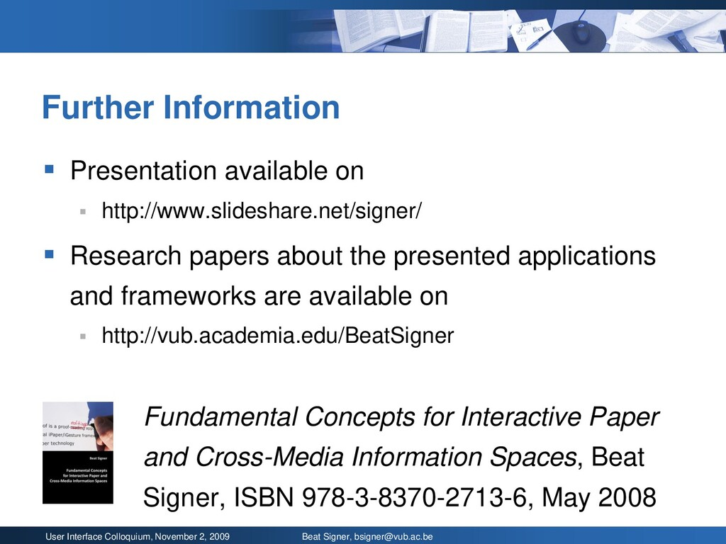 User Interface Colloquium, November 2, 2009 Bea...