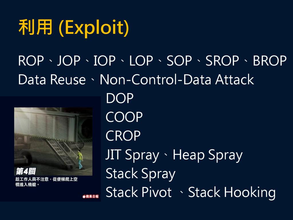 利用 (Exploit) ROP、JOP、IOP、LOP、SOP、SROP、BROP Data...