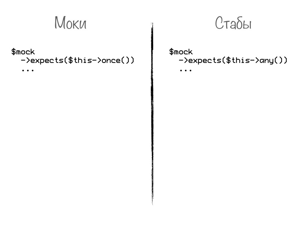 Моки Стабы $mock ->expects($this->once()) ... $...