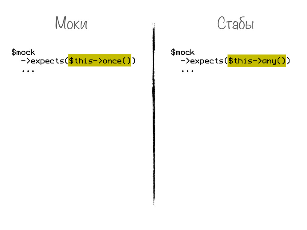 Моки $mock ->expects($this->once()) ... Стабы $...
