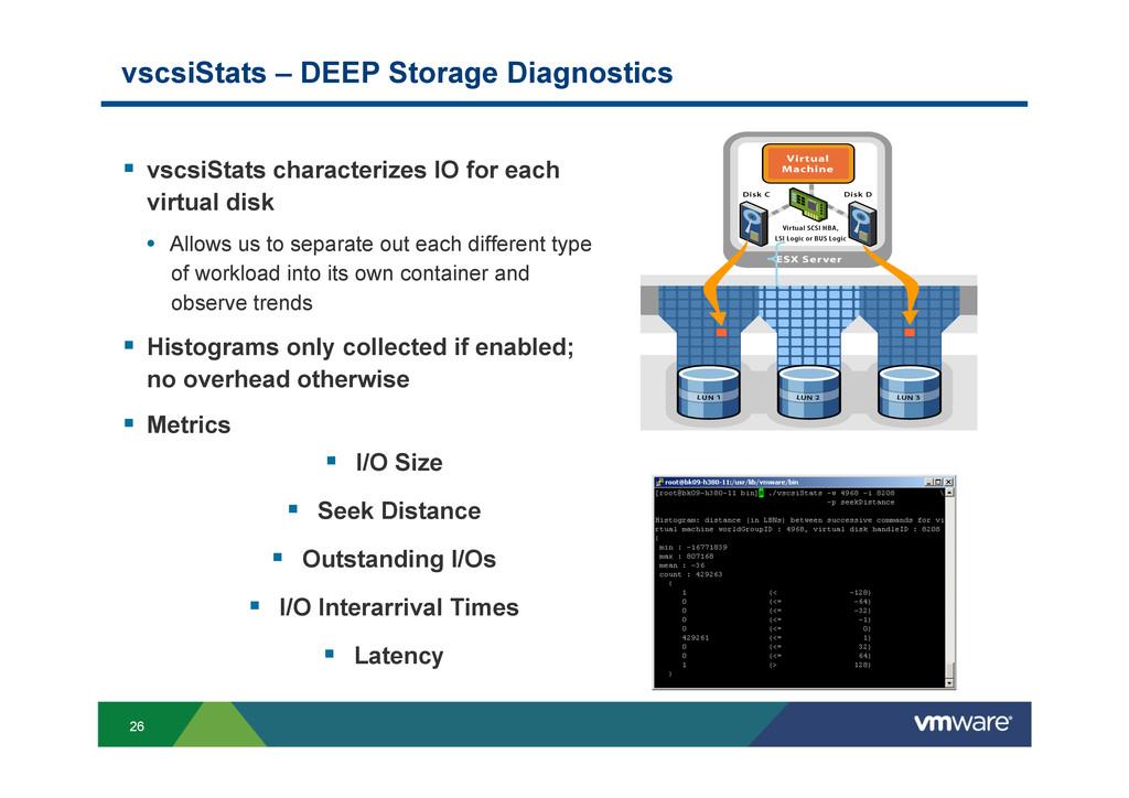 26 vscsiStats – DEEP Storage Diagnostics § vs...