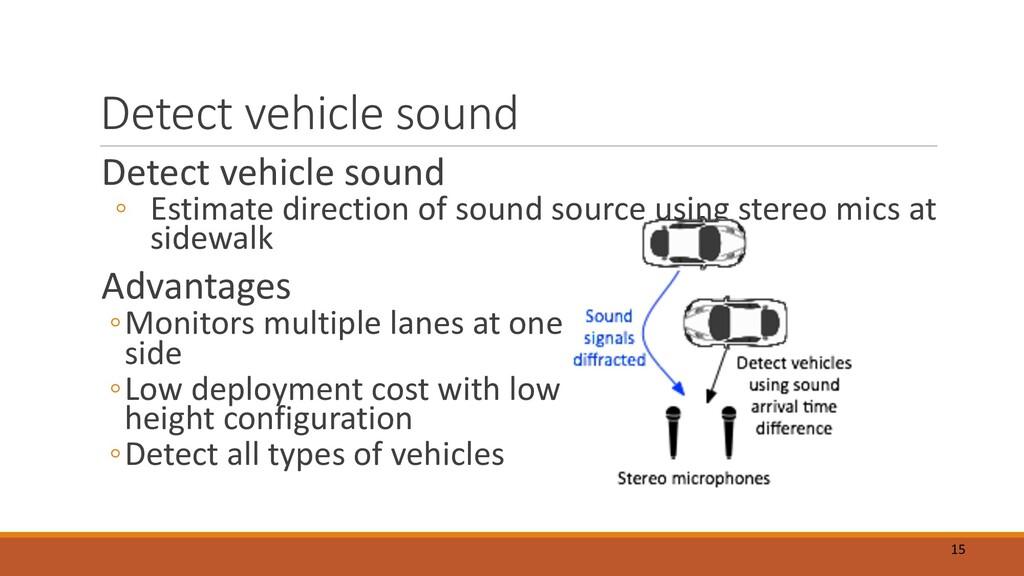Detect vehicle sound Detect vehicle sound ◦ Est...