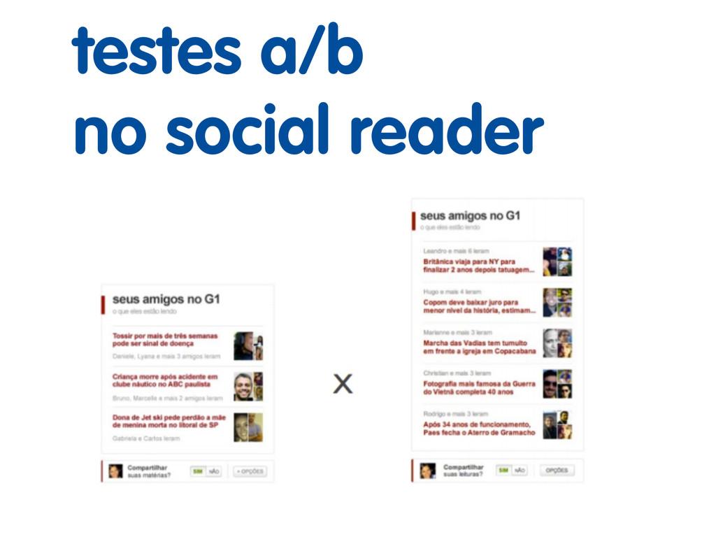 testes a/b no social reader