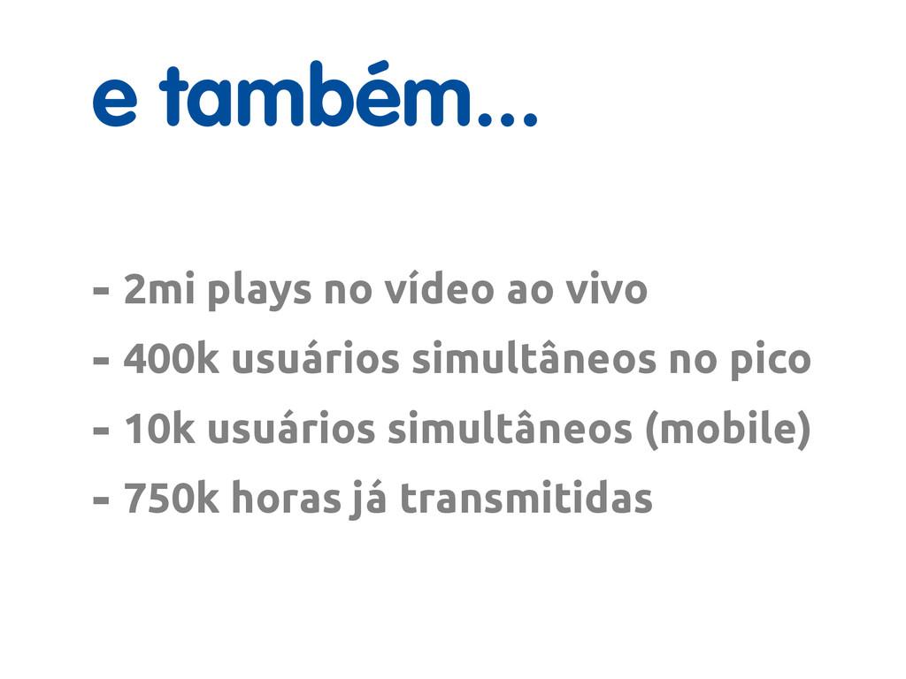e também... - 2mi plays no vídeo ao vivo - 400k...